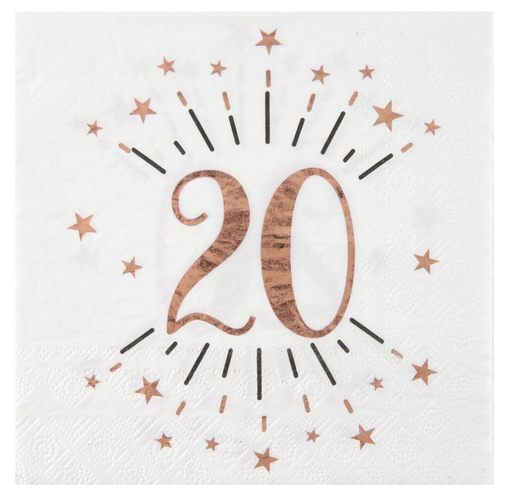 Serviette en papier 20 ans Blanc/Or Rose (lot de 20)