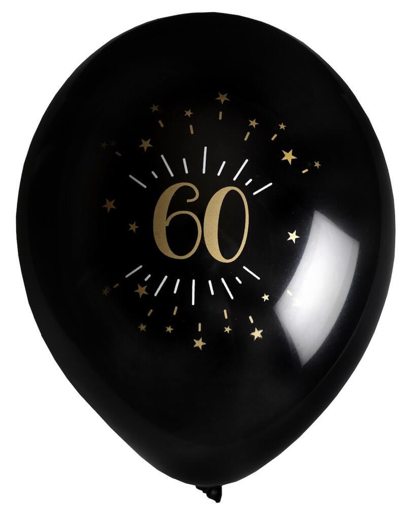 Ballon 60 ans NoirOr (lot de 8)