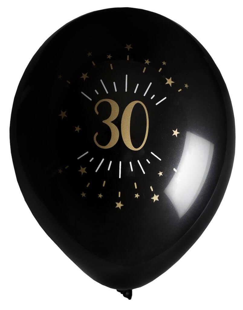 Ballon 30 ans Noir Or (lot de 8)