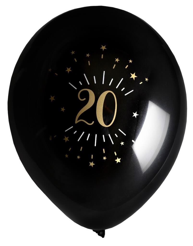 Ballon 20 ans NoirOr (lot de 8)