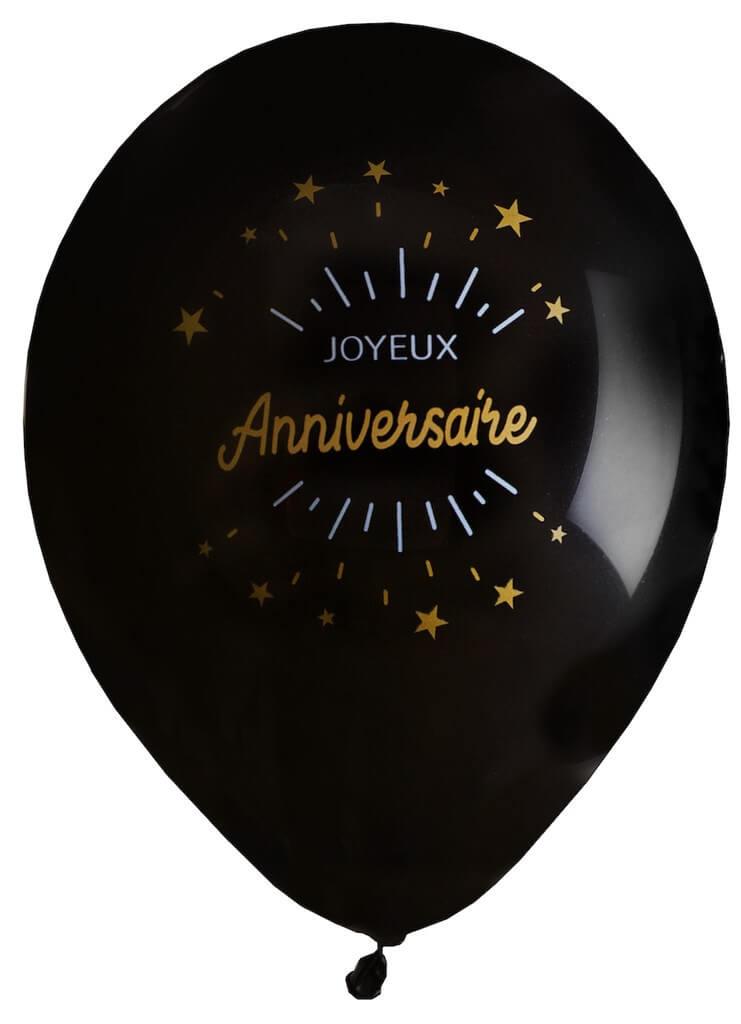 Ballon Joyeux Anniversaire Noir/Or (lot de 8)