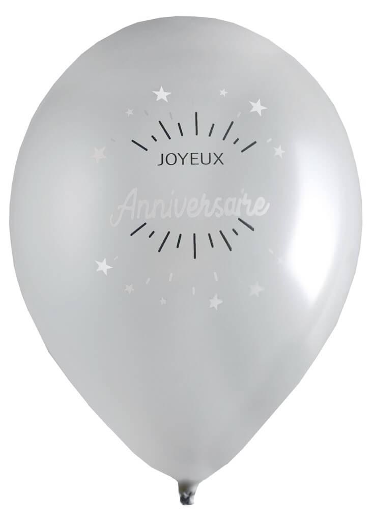 Ballon Joyeux Anniversaire Argent (lot de 8)