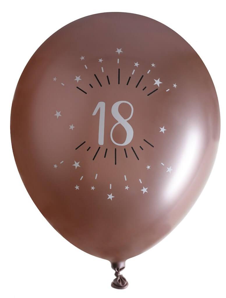 Ballon 18 ans Or Rose ø 30cm (lot de 6)