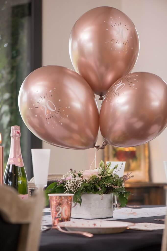 Ballon 20 ans Or Rose ø 30cm (lot de 6)