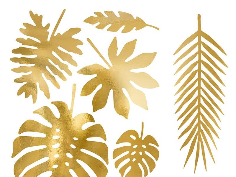 Décoration Feuilles Tropicales en papier or (21 pièces)