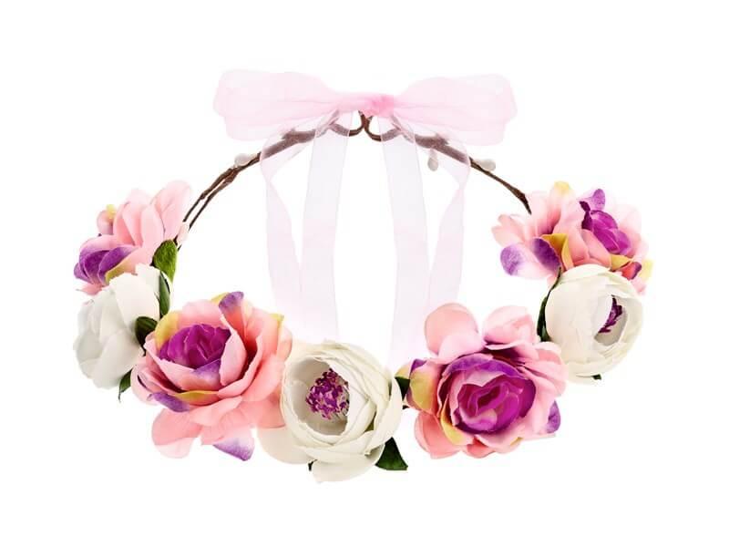 Couronne de fleurs blanches et roses ø 17cm