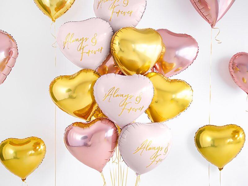 Ballon Coeur Or rose métallique 45cm