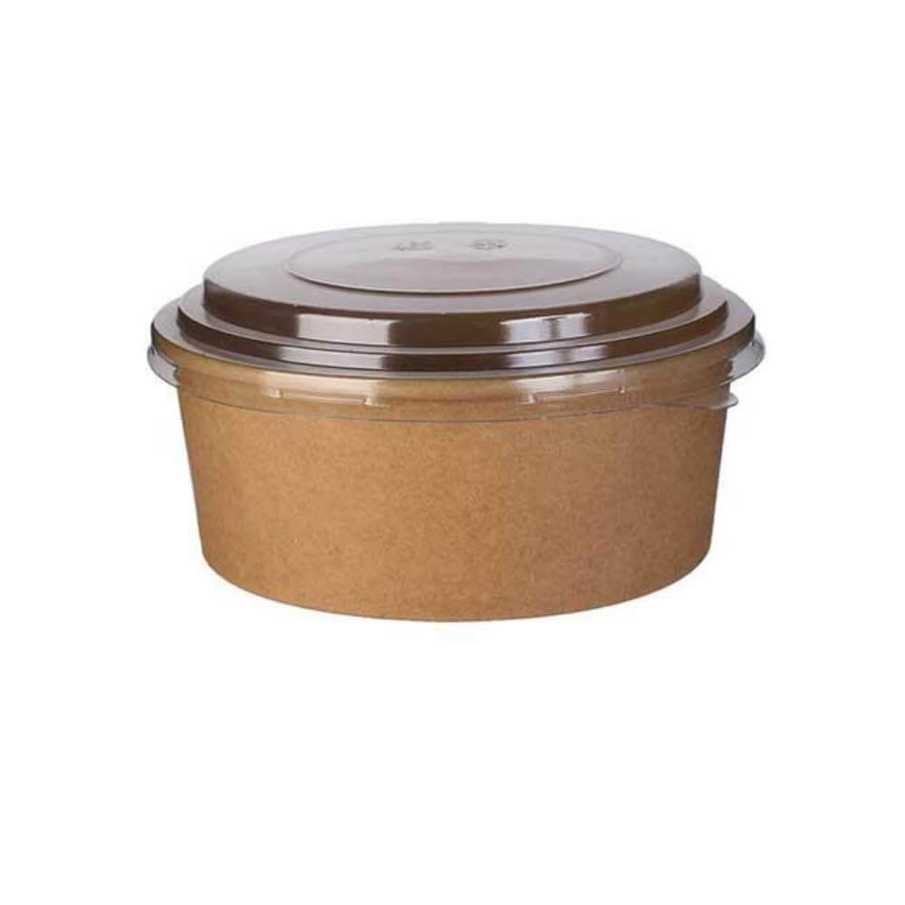 Saladier Kraft Biodégradable 1100ml + Couvercle (Lot de 25)