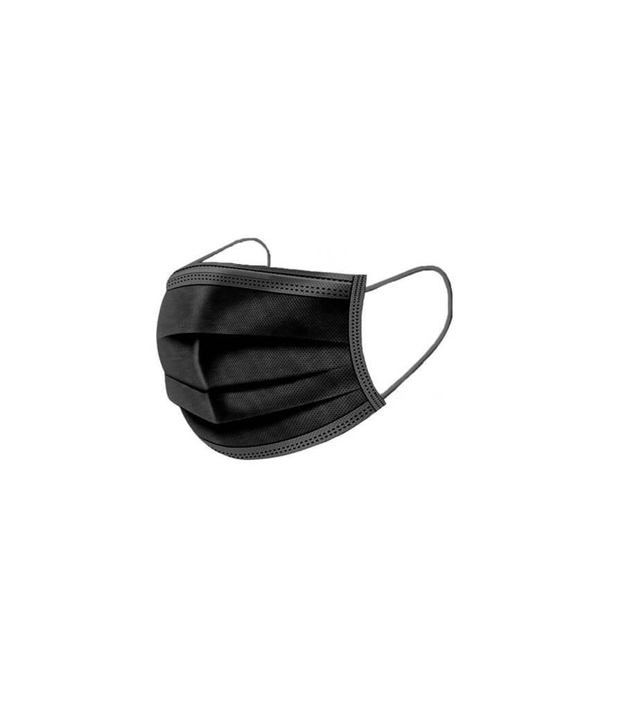 Masques chirurgicaux noirs 3 plis (lot de 50)