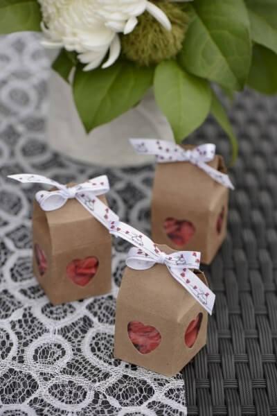 Boîte à dragées coeur Kraft- Lot de 4