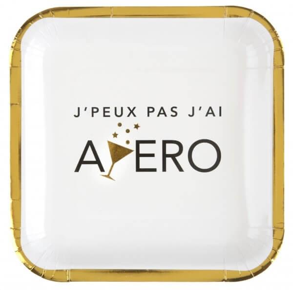 """Assiette en carton """"Apéro"""" ø23cm - Lot de 10"""
