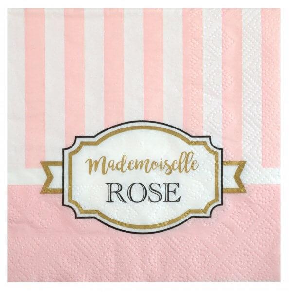 """Serviette en papier """"Mademoiselle Rose"""" - Lot de 20"""