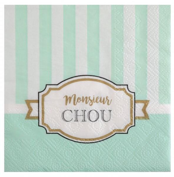"""Serviettes en papier """"Monsieur Chou"""" - Lot de 20"""