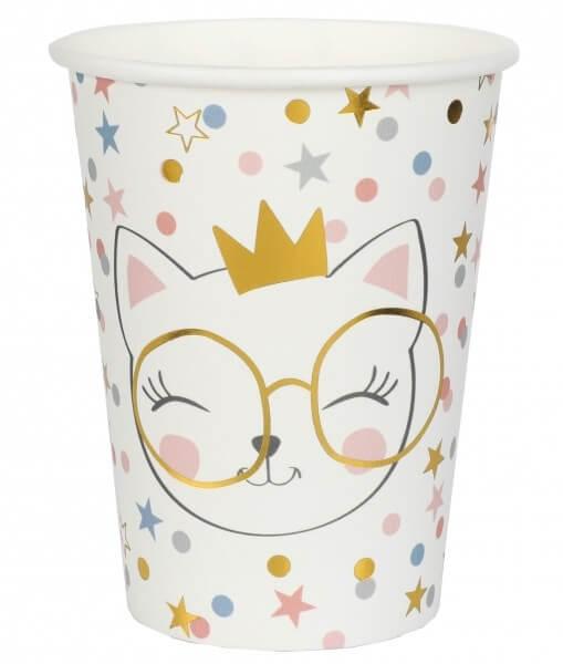 """Gobelet en papier blanc """"Kitty Party"""" - Lot de 10"""
