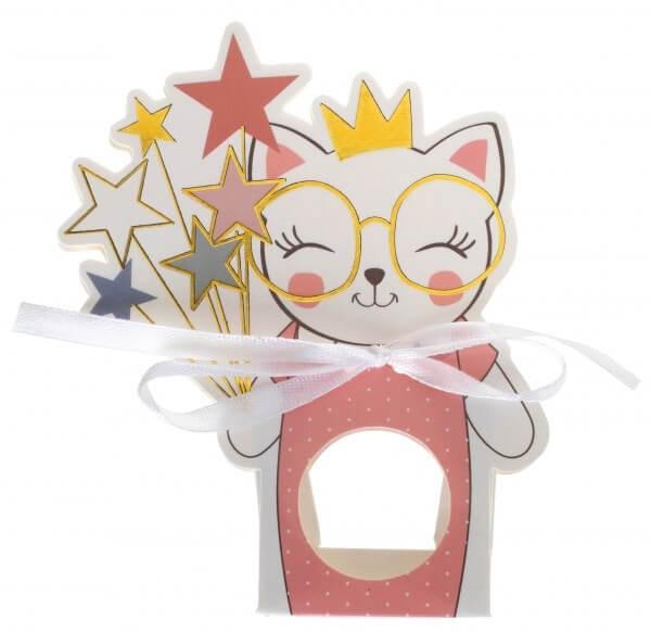 """Boîte à dragées """"Kitty Party"""" Rose - Lot de 6"""