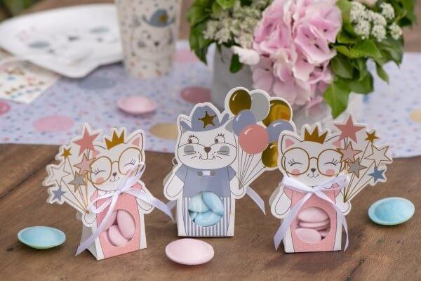"""Boîte à dragées """"Kitty Party"""" Bleu - Lot de 6"""
