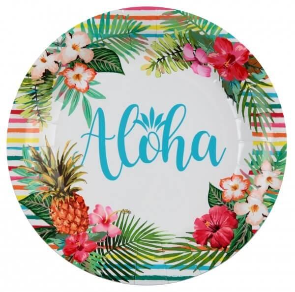 """Assiette en carton """"Aloha"""" ø23cm - Lot de 10"""