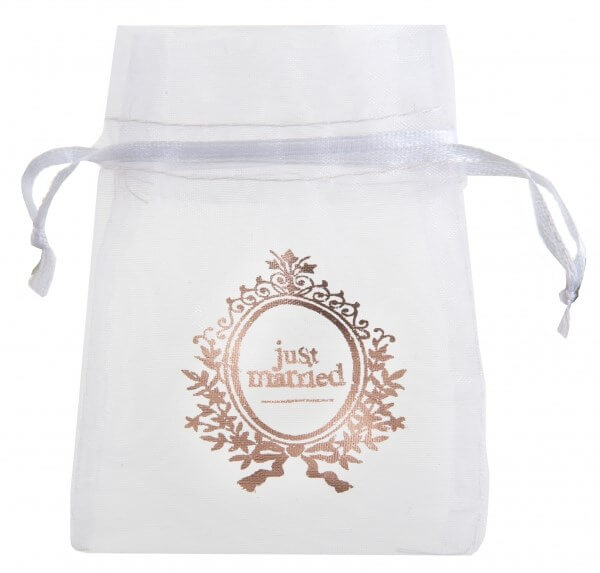 "Petit sac blanc "" Just Married"" - Lot de 6"