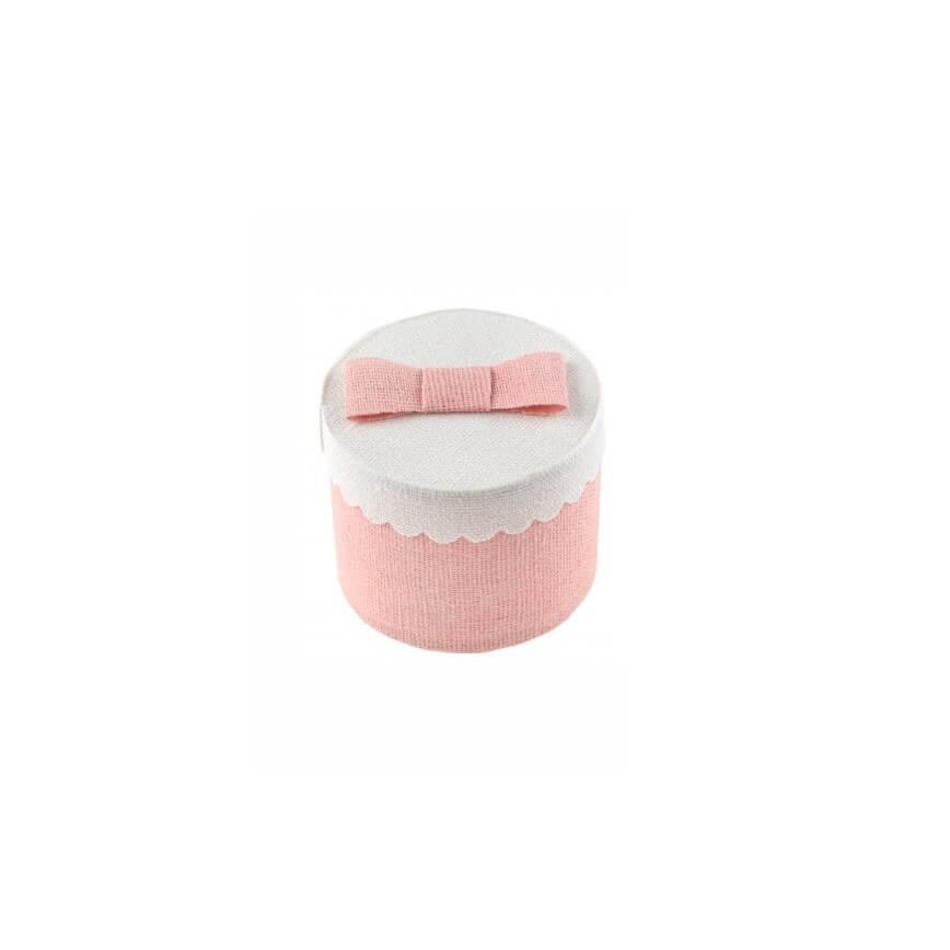 Boîte ronde rose - ø 5 x 5 cm - Lot de 4