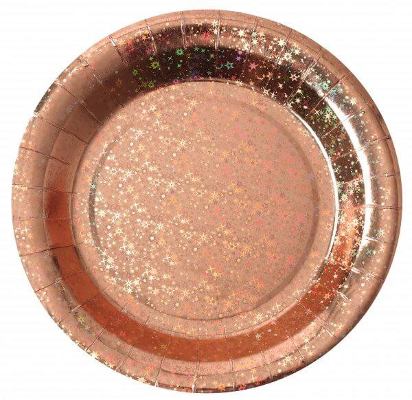 Assiette en carton Etincelante Rose Gold ø22.5cm - Lot de 10