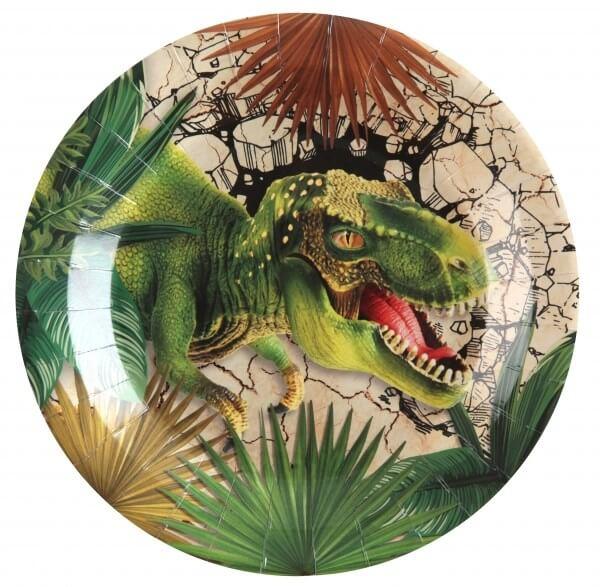Assiettes en papier T-Rex - ø23cm - Lot de 10