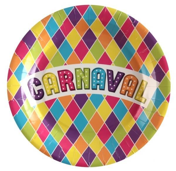"""Assiette en carton """"Carnaval"""" ø23cm - Lot de 10"""