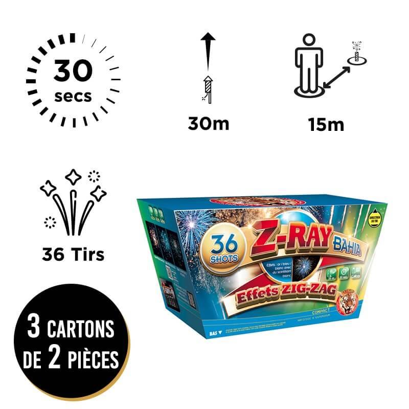 FEU D'ARTIFICE TRIO DE COMPACT EN EVENTAIL Z-RAY - LOT DE 6