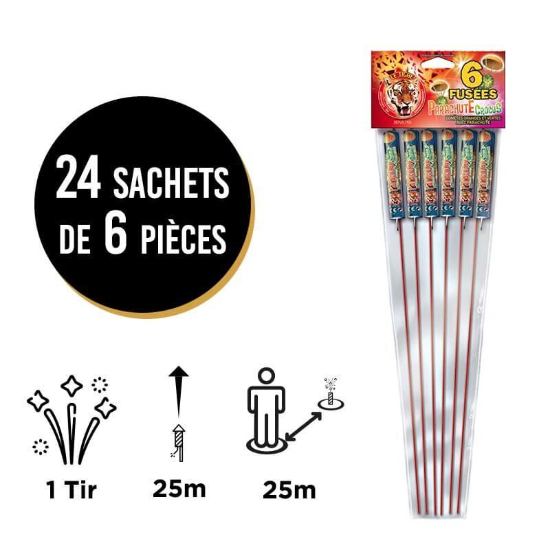 FEU D'ARTIFICE FUSÉES PARACHUTE CROCUS ® - LOT DE 24