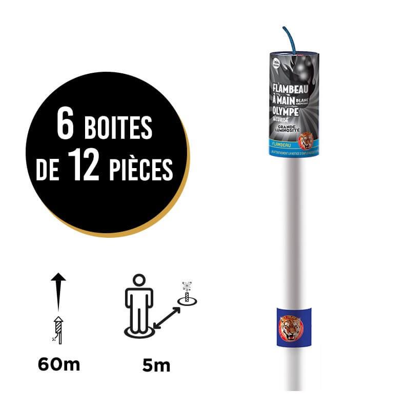 FUMIGENE FLAMBEAU OLYMPE ® CRÉPITANT BLANC - LOT DE 6x12